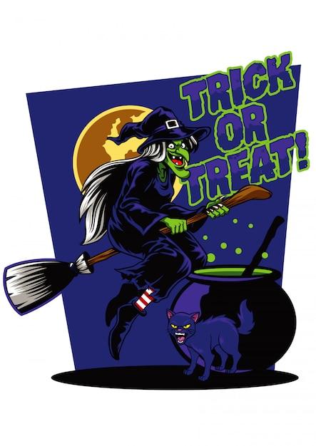 Illustrazione di strega e gatto nero Vettore Premium