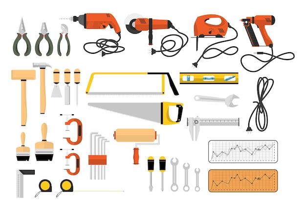 Illustrazione di strumenti del carpentiere Vettore gratuito