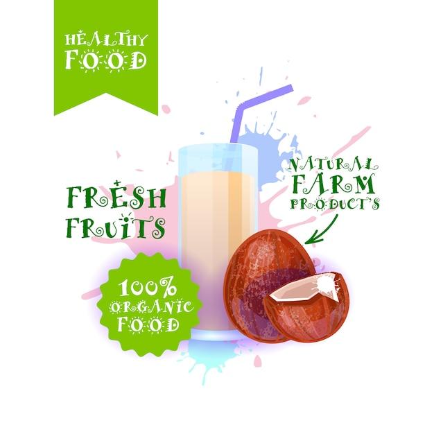 Illustrazione di succo di cocco fresco illustrazione prodotti alimentari naturali etichetta label over paint splash Vettore Premium