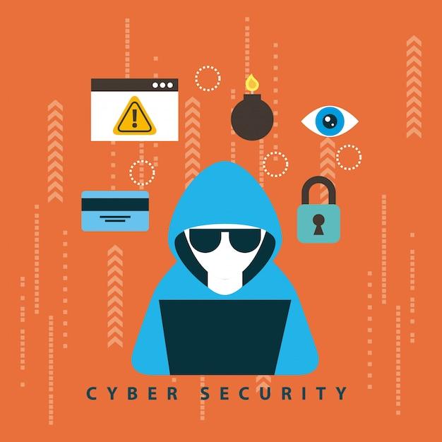 Illustrazione di tecnologia di sicurezza informatica Vettore gratuito