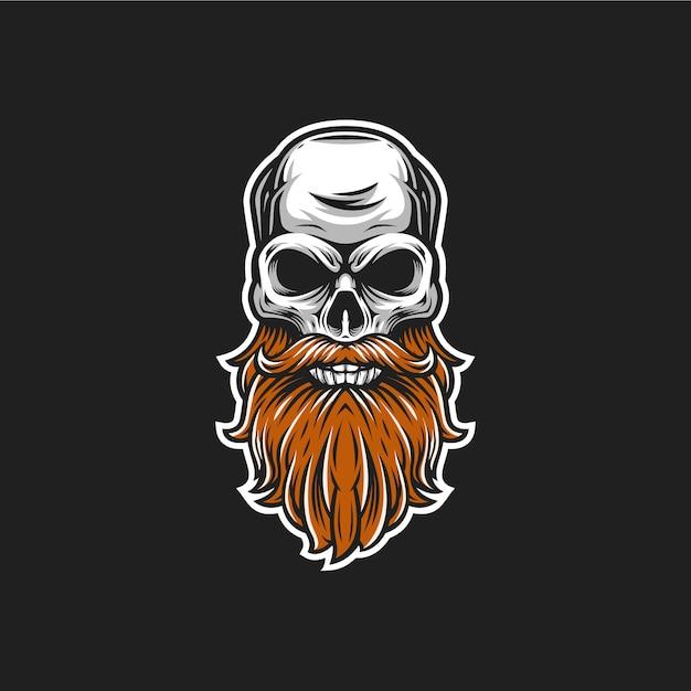 Illustrazione di testa vettoriale teschio di barba Vettore Premium