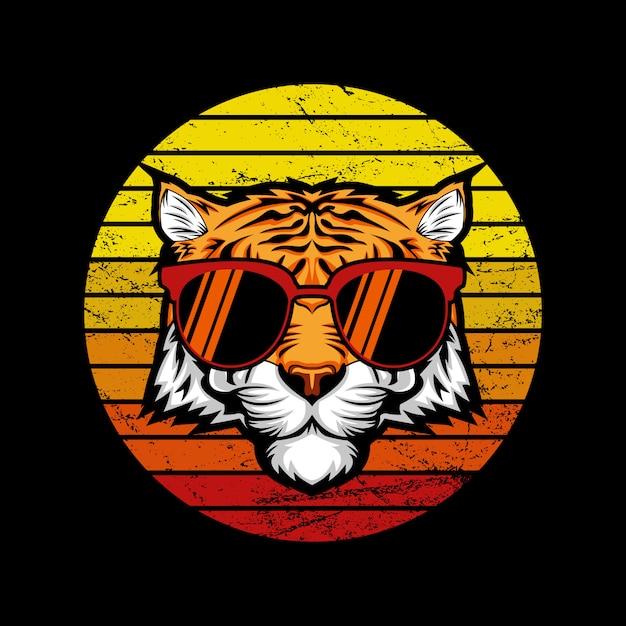 Illustrazione di tiger retro sunset Vettore Premium