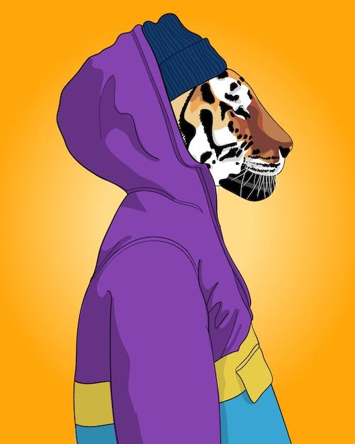 Illustrazione di tigre fresca disegnata a mano. Vettore Premium