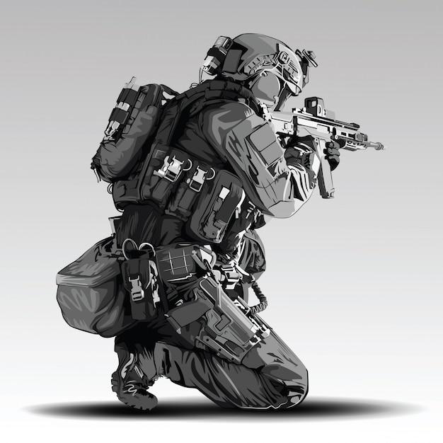 Illustrazione di tiro tattico poliziotto. militari della polizia armata che si preparano a sparare con il fucile automatico. Vettore Premium