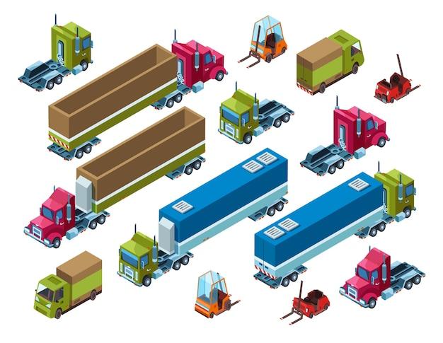 Illustrazione di trasporto di carico del rimorchio di consegna logistica isometrica Vettore gratuito