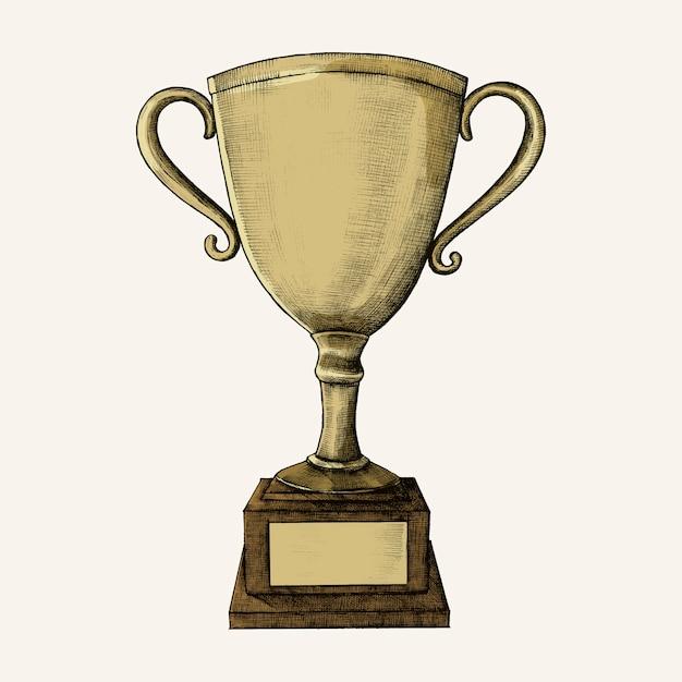 Illustrazione di trofeo d'oro disegnati a mano Vettore Premium
