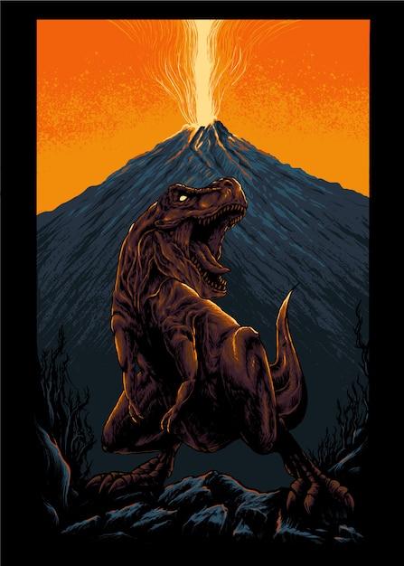 Illustrazione di tyrannosaurus rex Vettore Premium