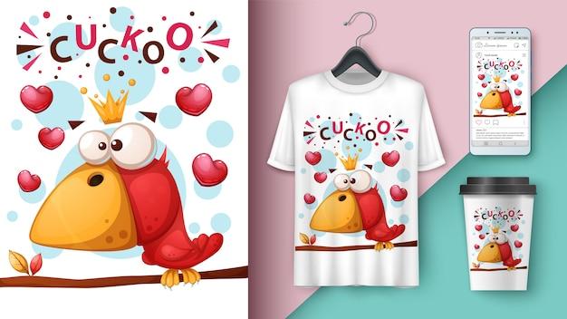 Illustrazione di uccello carino, pazzo Vettore Premium