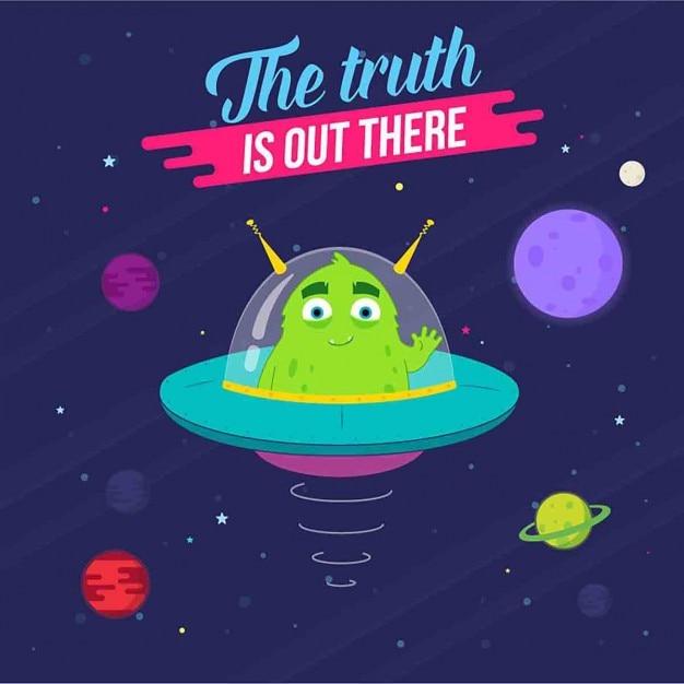 Illustrazione di un alieno extraterrestre viene fornito con la pace Vettore gratuito