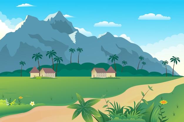 Illustrazione di un bellissimo villaggio estivo sulle colline Vettore Premium