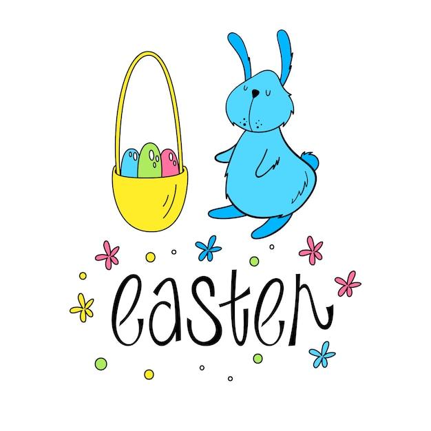 Illustrazione di un coniglietto di pasqua Vettore Premium