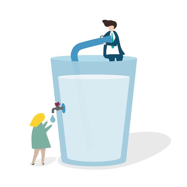 Illustrazione di un enorme bicchiere d'acqua Vettore gratuito