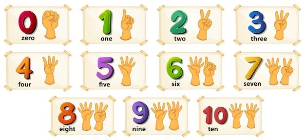 Illustrazione di un insieme di numeri da 1 a 10 Vettore gratuito