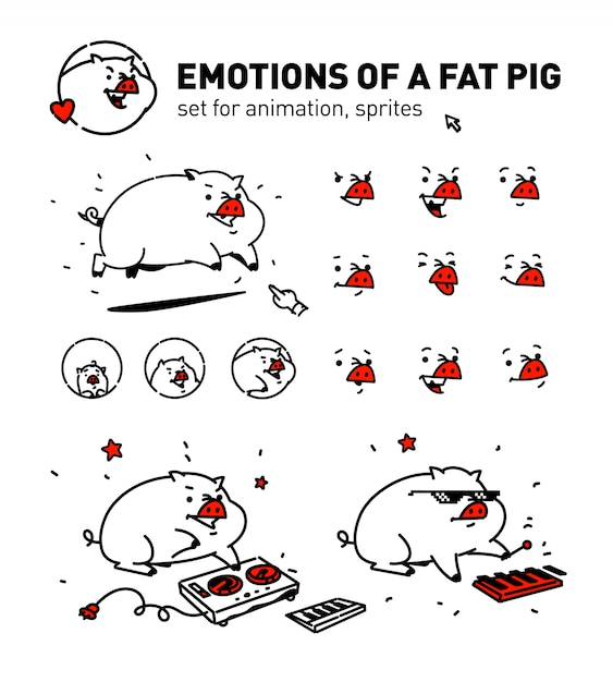 Illustrazione di un maiale di cartone animato. vettore