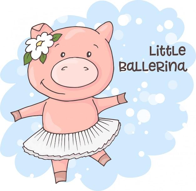 Illustrazione di un maiale simpatico cartone animato Vettore Premium