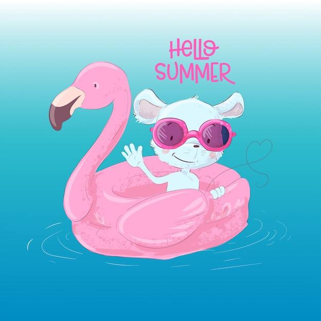 Illustrazione di un maus carino su un cerchio gonfiabile in forma di un fenicotteri. ciao estate Vettore Premium