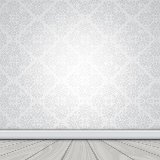 Illustrazione di un muro bianco con carta da parati damascati e pavimento in legno  Scaricare ...