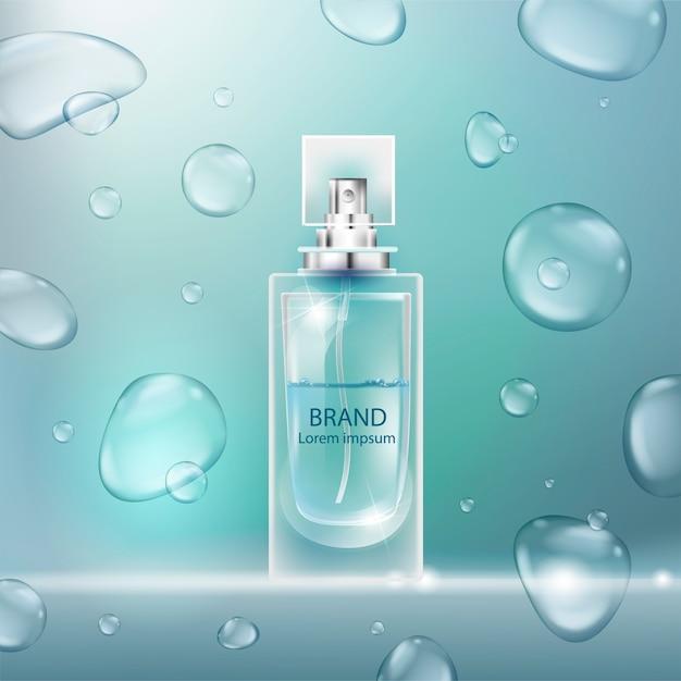 Illustrazione di un profumo di stile realistico in una bottiglia di vetro con bolle. Vettore Premium