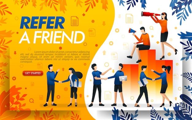 Illustrazione di un programma di rinvio con molte persone che si stringono la mano Vettore Premium