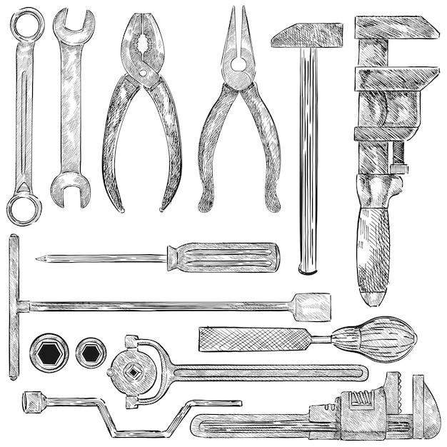 Illustrazione di un set di strumenti meccanici Vettore gratuito