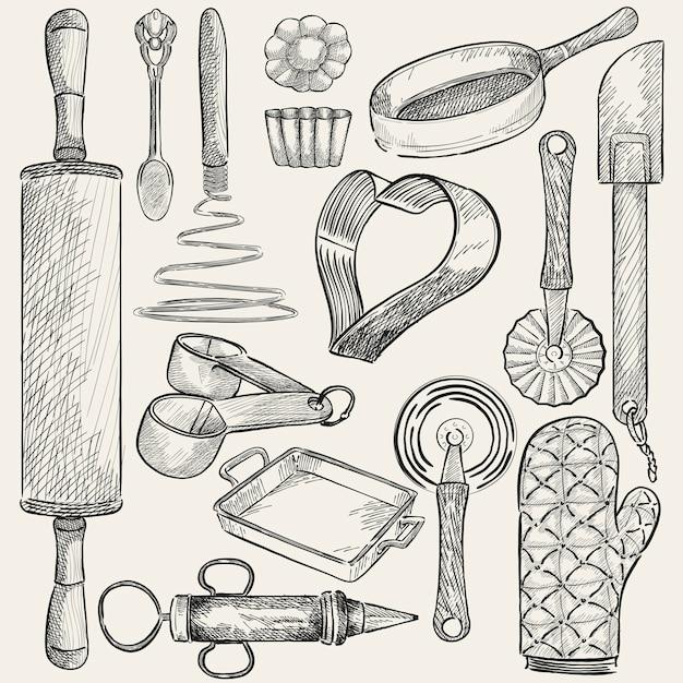 Illustrazione di un set di utensili da cucina Vettore gratuito