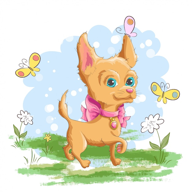 Illustrazione di un simpatico cagnolino chiguagua con fiori e farfalle Vettore Premium