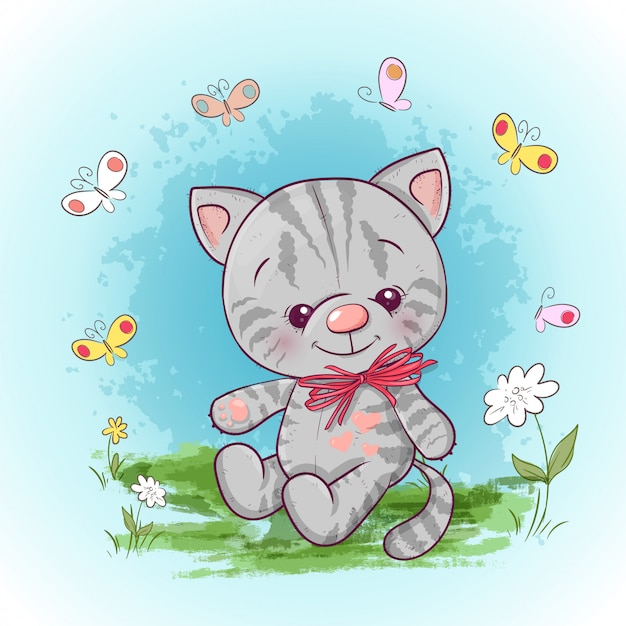 Illustrazione di un simpatico gattino con fiori e farfalle. stampa per vestiti o camera dei bambini Vettore Premium