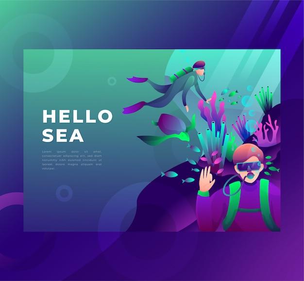 Illustrazione di un subacqueo sott'acqua, saluta, pagina di destinazione. Vettore Premium