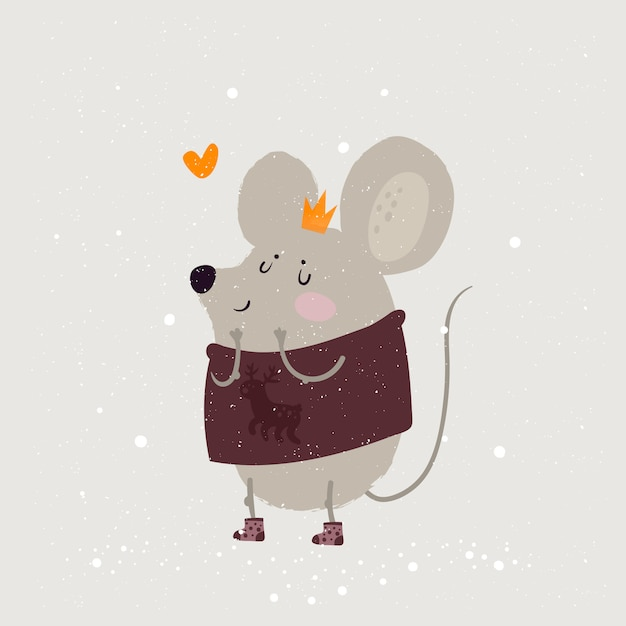 Illustrazione di un topo, un simbolo del 2020. principessa di topi carino in corona Vettore Premium