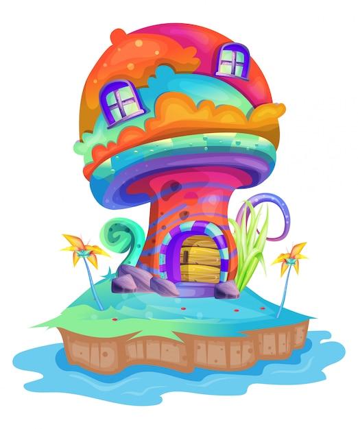 Illustrazione di una casa dei funghi Vettore Premium