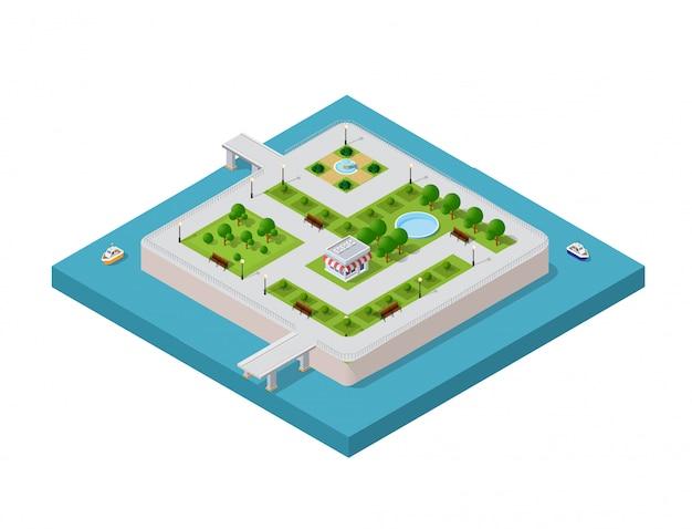 Illustrazione di una città moderna Vettore Premium