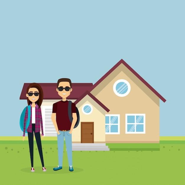 Illustrazione di una coppia di amanti fuori casa Vettore gratuito