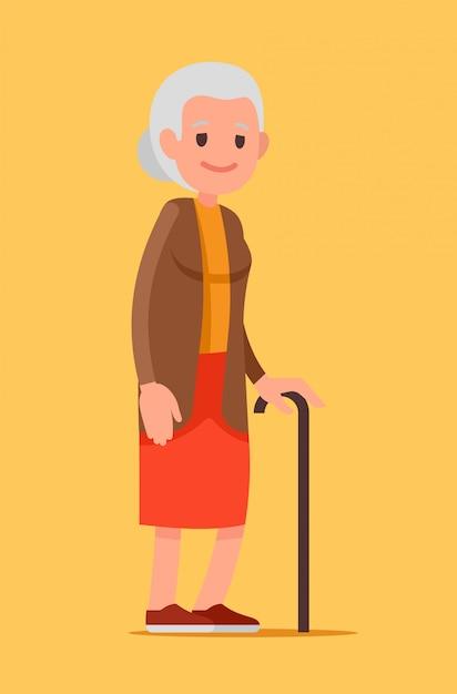 Illustrazione di una donna anziana con una canna. senior signora a piedi. Vettore Premium