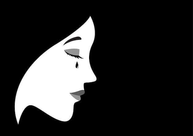 Illustrazione di una donna che piange Vettore Premium