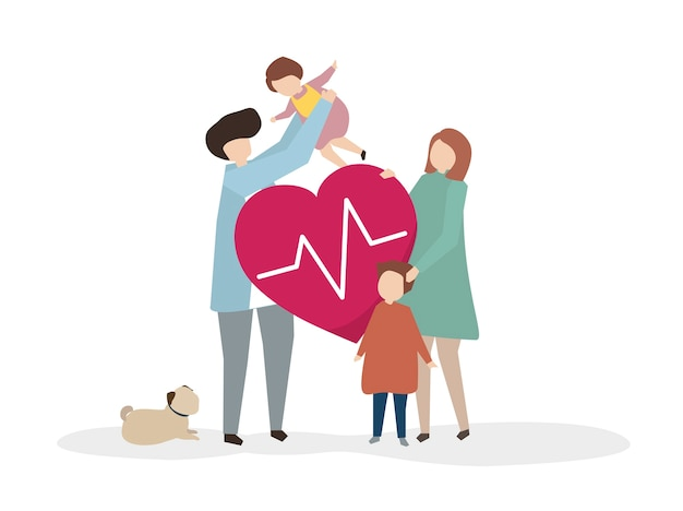 Illustrazione di una famiglia sana felice Vettore gratuito