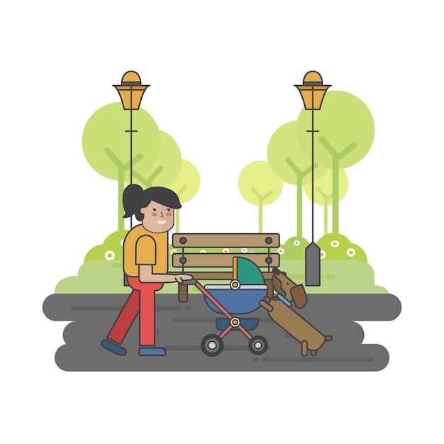 Illustrazione di una madre e un cane Vettore gratuito