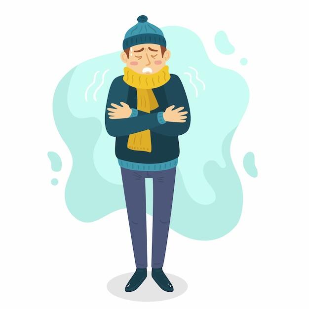 Illustrazione di una persona con un raffreddore Vettore gratuito