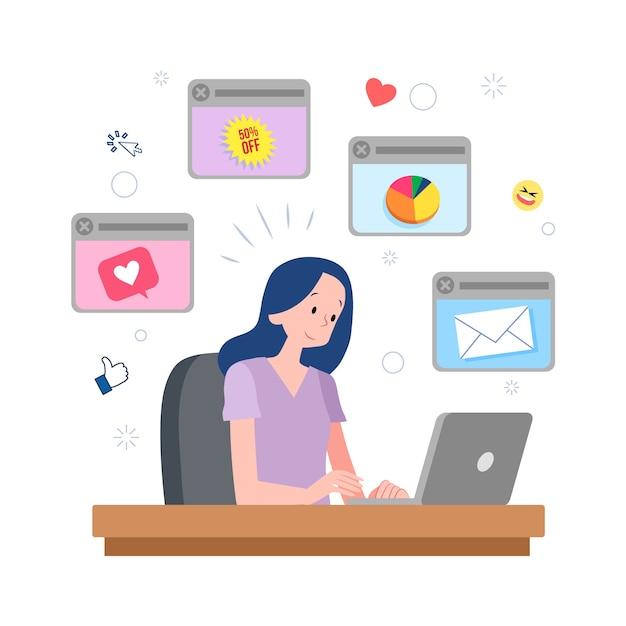 Illustrazione di una persona multitasking Vettore gratuito