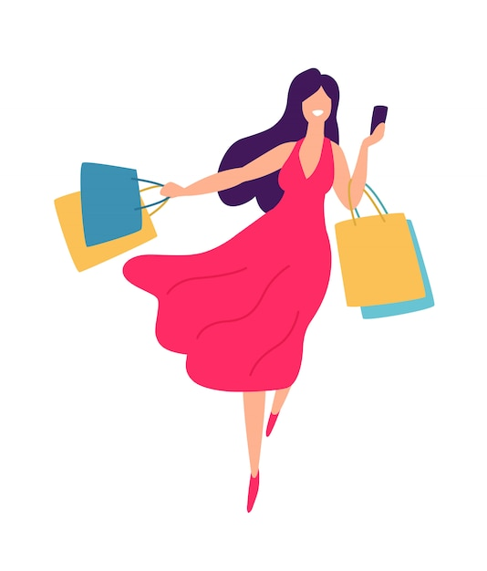 Illustrazione di una ragazza con lo shopping Vettore Premium