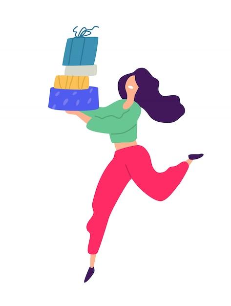 Illustrazione di una ragazza con lo shopping. Vettore Premium