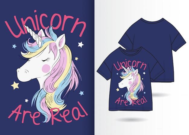 Illustrazione di unicorno carino disegnato a mano con design t-shirt Vettore Premium