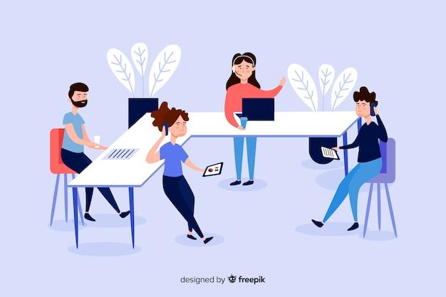 Illustrazione di uomini d'affari alle scrivanie Vettore gratuito