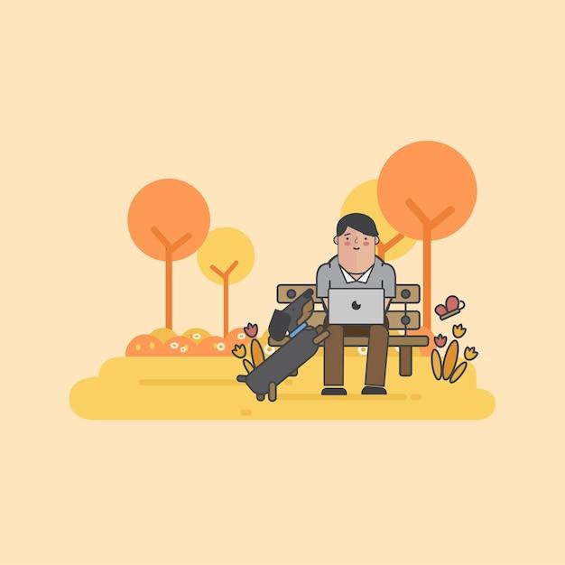 Illustrazione di uomo d'affari e un cane Vettore gratuito