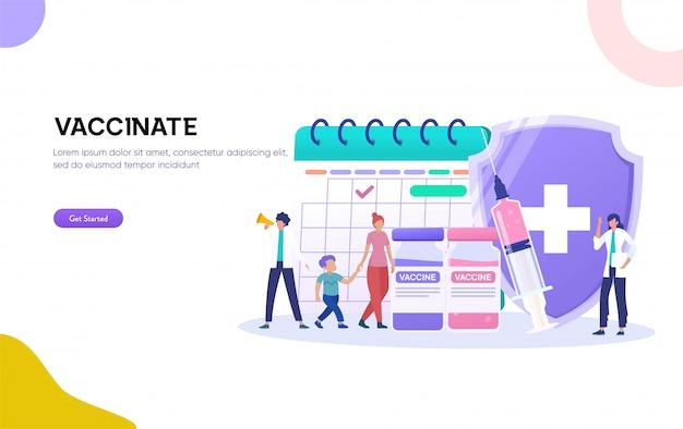 Illustrazione di vaccinazione e immunizzazione infantile. immunità alla salute, madre e figlio visitano il medico pediatra, Vettore Premium