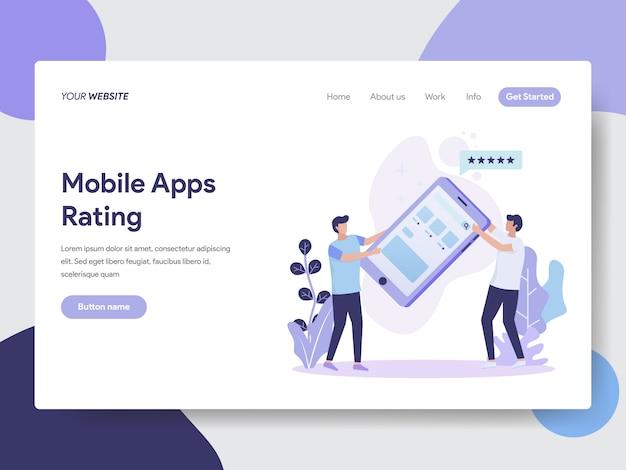 Illustrazione di valutazione delle app per dispositivi mobili per le pagine web Vettore Premium