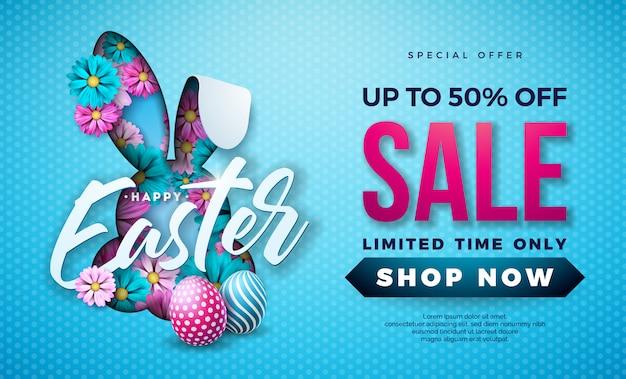 Illustrazione di vendita di pasqua con uova dipinte e fiori Vettore Premium