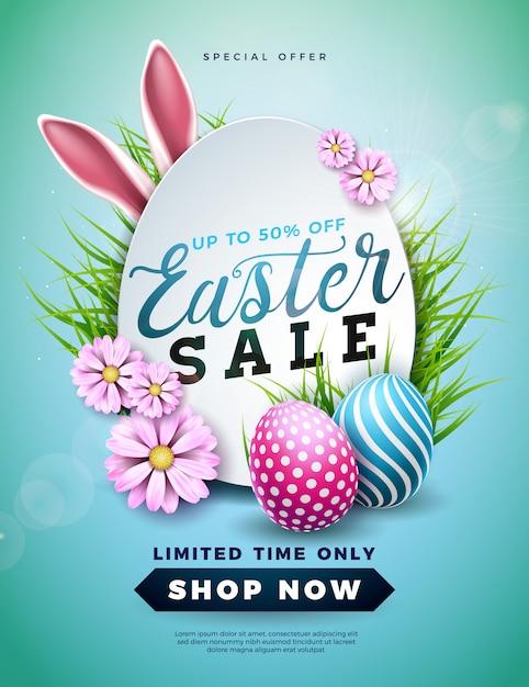 Illustrazione di vendita di pasqua con uovo di colore e orecchie di coniglio dipinte Vettore Premium