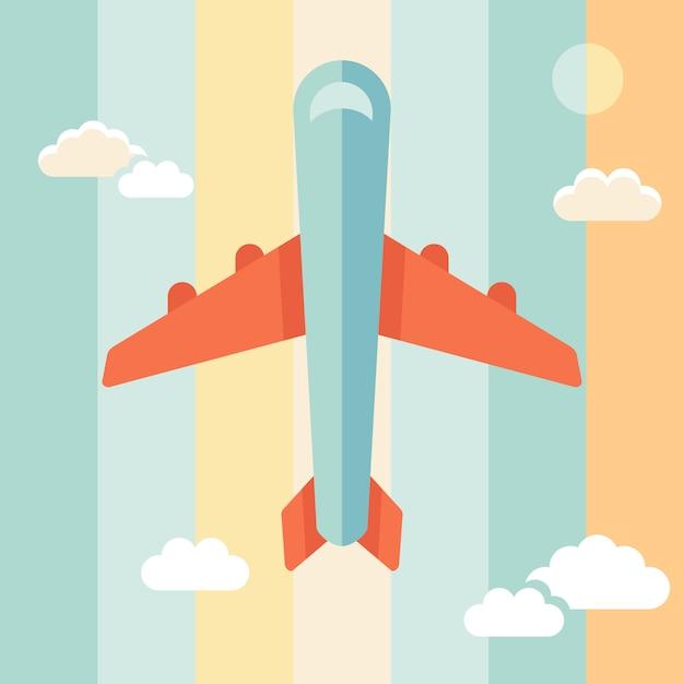 Illustrazione di vettore aereo in stile piano Vettore Premium
