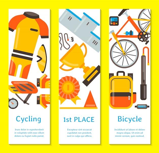 Illustrazione di vettore degli accessori di sport e dell'uniforme della bicicletta. attività in bicicletta, attrezzatura da ciclismo e accessori sportivi. modello di volantino Vettore Premium
