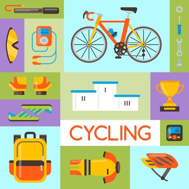 Illustrazione di vettore degli accessori di sport e dell'uniforme della bicicletta. attività in bicicletta, attrezzatura da ciclismo e accessori sportivi. Vettore Premium